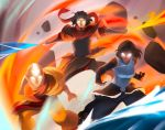 1girl 2boys aang ankle_wraps avatar:_the_last_airbender avatar_state bald bare_shoulders charles_tan dark_skin elbow_gloves epic facial_hair fighting_stance fingerless_gloves fire gloves glowing glowing_eyes goatee korra looking_at_viewer multiple_boys multiple_persona nickelodeon pelt rock scarf short_hair sleeveless tattoo the_legend_of_korra wan wind