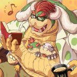 4boys alternate_costume bespectacled book bowser bowser_jr. claws coat cup father_and_son glasses horns lemmy_koopa male_focus masa_(bowser) morton_koopa_jr. multiple_boys musical_note nintendo open-chest_sweater redhead suit super_mario_bros. sweater