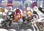 2boys 4girls alternate_hairstyle charle_(fairy_tail) closed_eyes erza_scarlet fairy_tail fire gray_fullbuster happy_(fairy_tail) highres hood hug juvia_loxar logo lucy_heartfilia mashima_hiro multiple_boys multiple_girls natsu_dragneel official_art scarf snow snowing wendy_marvell