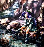 :p bad_id bag blue_eyes blue_hair hair_bobbles hair_ornament hat kawashiro_nitori mkm nature river tongue touhou twintails