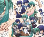 aqua_hair baby blue_eyes blue_hair blush chibi child closed_eyes couple detached_sleeves family genderswap green_eyes green_hair hands hatsune_miku hatsune_mikuo headphones heart hug if_they_mated jewelry kagamine_len kagamine_rin kaiko kaito long_hair meiko necktie open_mouth partially_translated pregnant ring salovesy scarf skirt surprise surprised thigh-highs thighhighs translated translation_request twintails very_long_hair vocaloid wedding_ring zettai_ryouiki