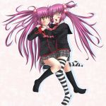 black_kneehighs black_legwear blush futaki_kanata kneehighs little_busters little_busters! long_hair plaid plaid_skirt purple_hair saigusa_haruka school_uniform skirt smile socks striped striped_legwear striped_thighhighs tartan thigh-highs thighhighs