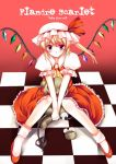 blonde_hair blush character_name checkered flandre_scarlet hat sitting solo stuffed_animal stuffed_toy teddy_bear tiles touhou v_arms wings