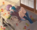 book brown_eyes cardigan cat feet leaf leaves lying nagato_yuki on_back potato_chips purple_hair reading sanho shade shamisen_(suzumiya_haruhi) socks suzumiya_haruhi_no_yuuutsu