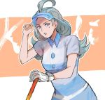 1girl ahoge aqua_hair buttons character_name elite_four gloves golf_club hand_on_headwear highres jyuv kahili_(pokemon) lavender_eyes long_hair looking_away looking_to_the_side mole mole_under_eye open_mouth pokemon pokemon_(game) pokemon_sm shirt short_sleeves single_glove solo striped striped_shirt teeth visor_cap white_gloves
