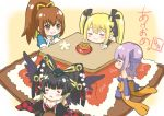 4girls absurdres ayane_(doa) black_hair blonde_hair breasts chibi cleavage closed_eyes dead_or_alive dead_or_alive_5 eating highres kasumi_(doa) kotatsu marie_rose multiple_girls nyotengu purple_hair sitting table