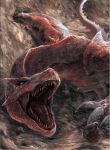 capcom claws monster monster_hunter no_humans open_mouth red_eyes scales tail teeth tigrex wings