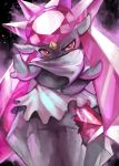 10s crystal diancie gem no_humans pokemon pokemon_(game) pokemon_xy red_eyes smile solo yilx