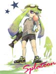 1girl domino_mask female goggles green_hair gum gun ink inkling long_hair mask nintendo pointy_ears shorts splatoon squid tagme tentacle_hair violet_eyes weapon