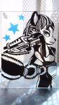 1girl bodysuit female furry gun krystal machine_gun monochrome nintendo short_hair smile solo star star_fox tail weapon