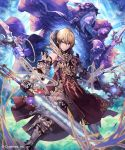 1boy armor bare_shoulders boots closed_mouth commentary_request ezusuke frown gauntlets gem heterochromia highres holding holding_staff holding_sword holding_weapon hood hood_down hood_up huge_weapon looking_at_viewer magic male_focus metal_boots red_eyes robe shingeki_no_bahamut solo_focus staff sword tabard violet_eyes weapon