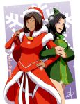 2girls arm_hug asami_sato avatar:_the_last_airbender bag bell black_hair blue_hair brown_hair christmas couple daniel_macgregor dark_skin eyeshadow fur_trim hat korra lipstick looking_at_viewer makeup multiple_girls red_lipstick santa_costume santa_hat short_hair smile smirk snowing the_legend_of_korra yuri