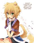 1girl animal_ears ascot blonde_hair blush dog_ears dog_tail green_eyes hard_translated kemonomimi_mode mizuhashi_parsee short_hair six_(fnrptal1010) solo sweatdrop tail tail_wagging touhou translated tsundere