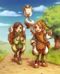 2girls backpack bag boots brown_hair clavat crystal female final_fantasy final_fantasy_crystal_chronicles flying hairband moogle multiple_girls open_mouth pointing quilted short_hair smile tree