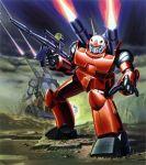 beam_rifle energy_gun firing gun guncannon gundam guntank mecha mobile_suit_gundam official_art scan weapon
