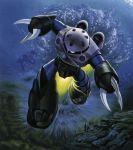 bubble fish gogg gundam mecha mobile_suit_gundam official_art scan underwater water z'gok