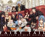 breasts cana_alberona charle_(fairy_tail) cleavage cup dress elfman_strauss erza_scarlet everyone fairy_tail formal gajeel_redfox gray_fullbuster happy_(fairy_tail) ice juvia_loxar large_breasts lucy_heartfilia mashima_hiro mirajane_strauss natsu_dragneel necktie official_art pantherlily sleeveless sleeveless_dress suit sunglasses table tattoo wendy_marvell wine_glass