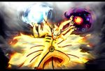 alternate_form battle_aura colored fangs fox glowing glowing_eyes highres kortrex kurama_(naruto) markings monster multiple_arms multiple_heads multiple_tails naruto rasengan smoke spoilers tail uzumaki_naruto watermark