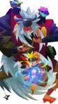 2boys absurdres beard blonde_hair cloak facial_hair facial_mark fighting_stance forehead_protector frog_eyes fukasaku_(naruto) galgard geta goatee highres japanese_clothes jiraiya kunai long_hair multiple_boys naruto naruto_shippuuden rasengan red_nose scroll shima_(naruto) shuriken silver_hair simple_background spiky_hair stylized toad_(animal) uzumaki_naruto very_long_hair weapon whiskers white_background