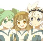1girl 2boys brown_eyes brown_hair earth_eleven fei_rune goggles goggles_on_head green_eyes green_hair inazuma_eleven_(series) inazuma_eleven_go inazuma_eleven_go_chrono_stone inazuma_eleven_go_galaxy lightning_bolt long_hair looking_at_viewer mikoto_(cotot) multiple_boys nanobana_kinako open_mouth saryuu_evan simple_background soccer_uniform sportswear upper_body white_background white_hair