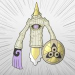 10s aegislash cleavage_cutout cyclops no_humans one-eyed open-chest_sweater pokemon pokemon_(game) pokemon_xy shield sweater sword violet_eyes weapon you're_doing_it_wrong