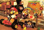 3d banana_peel blue_eyes bowser brown_hair copyright_name desert facial_hair hat kart luigi mario mario_(series) mario_kart mario_kart_64 mustache nintendo official_art railroad_crossing shell super_mario_bros. train wario