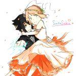 1boy 1girl dress haruno_sakura naruto smile uchiha_sasuke wedding wedding_dress