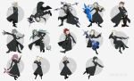 2girls axel bebe book card cloak demyx dual_wielding gun hood kingdom_hearts larxene lexaeus luxord marluxia multiple_boys multiple_girls organization_xiii petals polearm pose rose_petals roxas saix scythe shield spear vexen weapon xaldin xemnas xigbar xion_(kingdom_hearts) zexion