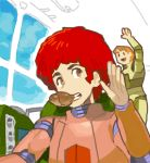 2boys afro cosmo_yuki densetsu_kyojin_ideon food lowres multiple_boys pilot_suit redhead sarmatamra tekuno_gyabari