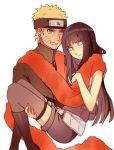 carrying couple hime_cut hyuuga_hinata karudoll lavender_eyes naruto princess_carry purple_hair scarf shared_scarf uzumaki_naruto