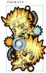 2boys alternate_form black_sclera chibi cloak father_and_son forehead_protector glowing multiple_boys namikaze_minato naruto naruto_shippuuden official_art rasengan spiky_hair uzumaki_naruto whiskers yellow_eyes yuupon