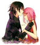 black_hair cloak closed_eyes fingerless_gloves gloves hair_ornament hairclip haruno_sakura husband_and_wife karudoll looking_at_another naruto pink_hair uchiha_sasuke