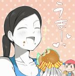 1boy 1girl agemono baseball_cap black_hair blue_eyes blush breasts cleavage closed_eyes eating food food_on_face hamburger hat heart holding looking_at_another mother_(game) mother_2 ness nintendo open_mouth ponytail short_hair smile standing super_smash_bros. translation_request white_skin wii_fit wii_fit_trainer