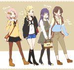 4girls blonde_hair contemporary haruno_sakura hyuuga_hinata melorythm multiple_girls naruto pantyhose pink_hair tenten yamanaka_ino