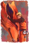 closed_eyes fox headband hug kurama_(naruto) naruto size_difference uzumaki_naruto whiskers yasuli