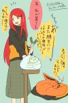 1girl :d blue_eyes fox hair_ornament hairclip highres jacket kurama_(naruto) long_hair naruto naruto_shippuuden o96ap open_mouth redhead smile translation_request uzumaki_kushina