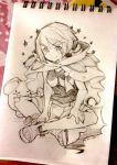 10s 1girl cape higana_(pokemon) no_humans photo pokemon pokemon_(game) pokemon_oras sandals shorts sketch sketchbook thigh-highs whismur