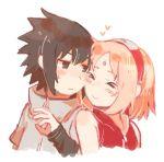 aisutabeta black_hair blush cheek-to-cheek couple haruno_sakura heart naruto pink_hair uchiha_sasuke