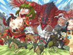 2boys 2girls angry blue_eyes blue_sky blush bullfango capcom clenched_teeth clouds egg felyne green_hair hoby kelbi melynx monster monster_hunter multiple_boys multiple_girls open_mouth outdoors rathalos running scared sky sweat sword tagme tears teeth teostra_(armor) velociprey weapon white_hair wings yian_kut-ku_(armor)