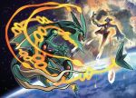 10s absurdres asteroid deoxys earth explosion highres mega_pokemon mega_rayquaza official_art pokemon pokemon_(game) pokemon_oras rayquaza space sugimori_ken