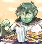 1boy beast_boy_(dc) butter cherry dc_comics eating food fork fruit garfield_logan glass green_hair green_skin milkshake pancake pointy_ears smile solo straw teen_titans whipped_cream yellow_eyes
