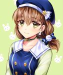 1girl alternate_hairstyle bang_dream! bangs beret blue_bow blue_headwear bow brown_hair bunny_background bunny_earrings choker cosplay double-breasted flower flower_choker gochuumon_wa_usagi_desu_ka? green_background green_choker hair_bow hat hat_flower long_hair looking_at_viewer minori_(faddy) pom_pom_(clothes) raglan_sleeves smile solo striped striped_bow twintails upper_body yamato_maya