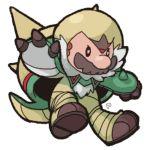 1boy black_eyes chesnaught cosplay facial_hair ghost-pepper mario mario_(series) mustache pokemon super_mario_bros.