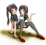 2girls artist_request conjoined crawling female looking_at_viewer maid multiple_girls original sandals siamese_twins siblings sisters thigh-highs twins walking