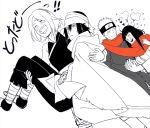 2boys 2girls black_&_white blush carrying couple expressionless facial_mark forehead_mark hand_holding haruno_sakura headband hime_cut hyuuga_hinata laughing multiple_boys multiple_girls naruto naruto:_the_last oba-min poncho princess_carry scarf shared_scarf spiky_hair uchiha_sasuke uzumaki_naruto work_in_progress