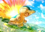 clouds commentary_request cyndaquil day fire from_below gen_2_pokemon grass kaosu_(kaosu0905) no_humans open_mouth outdoors pokemon pokemon_(creature) signature sky solo tongue