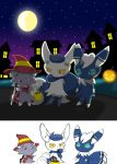 10s candy costume espurr fur halloween hat meowstic moon night nintendo no_humans pokemon pokemon_(game) pokemon_xy winick-lim