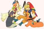 1girl 2boys animal_on_head animal_on_shoulder bird bird_on_arm bird_on_head bird_on_shoulder chick chicken closed_eyes cockatiel common_kingfisher goose haruno_sakura indian_style japanese_white-eye kingfisher kurama_(naruto) kyuubi_(naruto) lovebird macaw multiple_boys naruto o96ap parakeet parrot rooster scarlet_macaw short_hair simple_background sitting sparrow sweatdrop toucan uchiha_sasuke uzumaki_naruto white_background wince