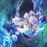 10s blue_eyes carbink cave crystal diancie dress gem nintendo no_humans open_mouth pokemon pokemon_(game) pokemon_xy red_eyes rock smile yoshiokaakihito