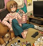 1boy 1girl apron artist_name bag barefoot blush cactus can child controller denim drinking feet food game_console game_controller indoors jeans kagamine_len kagamine_rin long_hair nintendo pants phone plant playstation playstation_3 poster potted_plant shirt sitting striped striped_shirt stuffed_animal stuffed_toy suparu_(detteiu) table teddy_bear television toes two-tone_stripes vocaloid wii xbox